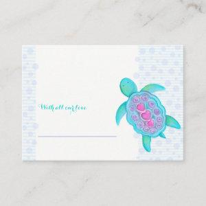 Baby shower turtle display shower cards