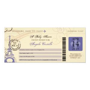 Baby Shower Vintage Paris Boarding Pass Invitation