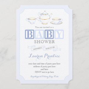 Baby Shower Vintage Tea Party Invite Cards for boy