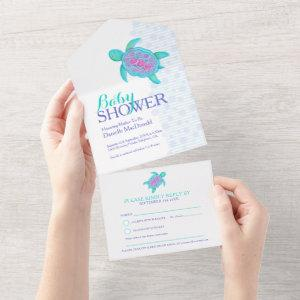 Baby shower watercolor turtle aqua pink blue all in one invitation