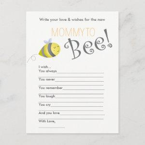 Baby Shower Wish Game- Mommy to Bee Invitation Postcard