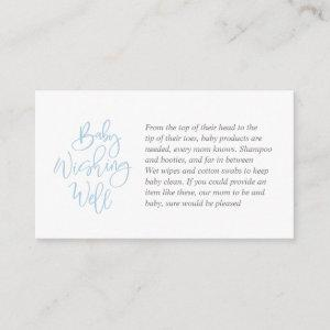 Baby Shower, Wishing Well, Blue Bell grey Script Enclosure Card