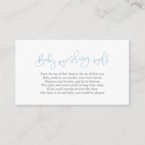Baby Shower, Wishing Well, Creative Blue Script Enclosure Card