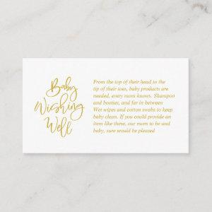 Baby Shower, Wishing Well, Creative Gold Script Enclosure Card