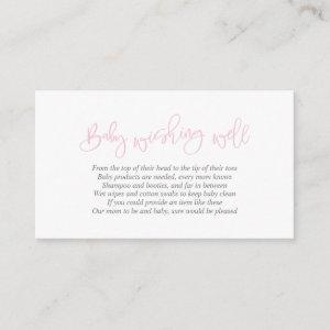 Baby Shower, Wishing Well, Creative Pink Script Enclosure Card