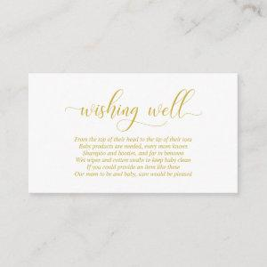 Baby Shower, Wishing Well, Modern Gold Script Enclosure Card