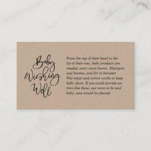 Baby Shower, Wishing Well, rustic kraft Script Enclosure Card