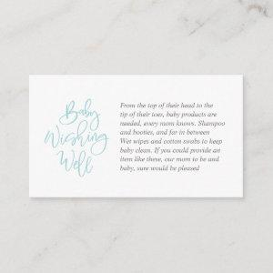 Baby Shower, Wishing Well, tiffany, grey Script Enclosure Card