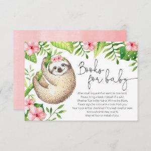 Baby sloth tropical pink greenery books for baby enclosure card