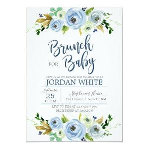 Baby to shower invitation I go, blue floral
