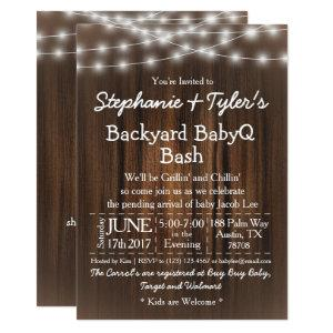 BabyQ Backyard Bash Lights Wood Rustic Baby Shower Invitation