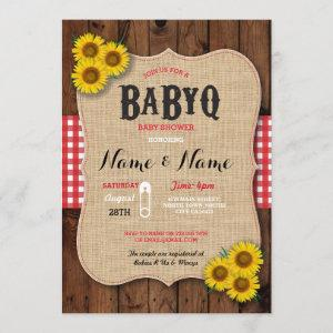 BaByQ BBQ Baby Shower Red Sunflower Invite