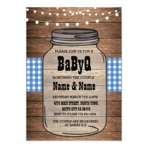 BaByQ It's A Boy Baby Shower Blue Check Invite
