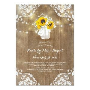 Baby's Breath Mason Jar Sunflowers Baby Shower Invitation