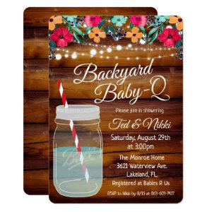 Backyard Baby Q Mason Jar Invitation