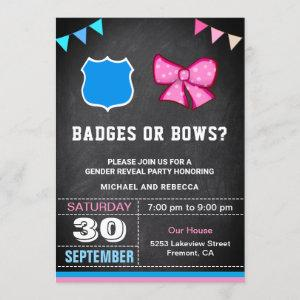 Badges or Bows Gender Reveal Party Invitation