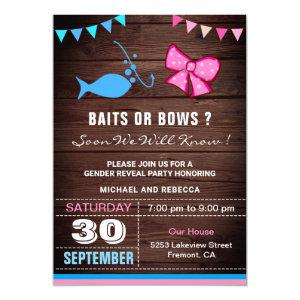 Baits or Bows Gender Reveal Party Invitation