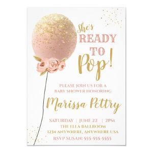 Balloon Baby shower ready to pop rose gold Invitation