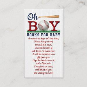 Baseball Boys Baby Shower Book Request Enclosure Card