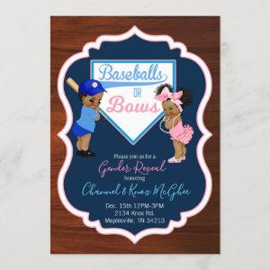 Baseballs or Bows Invitation