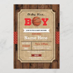 Basketball Baby Shower Blue Sports Wood Invite