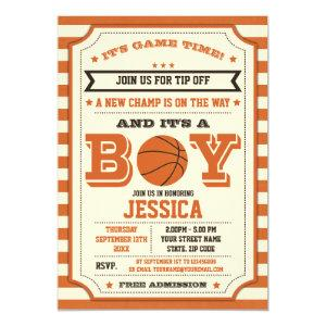 Basketball Baby Shower Ticket Invitation