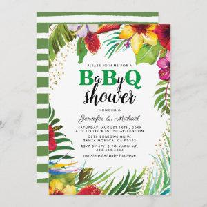 BBQ Baby Couples Shower   Tropical Babyq Barbecue Invitation