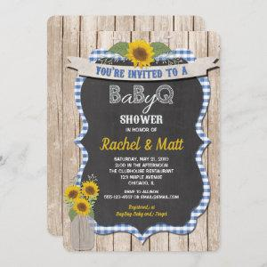 BBQ Baby Shower invitation boy blue yellow