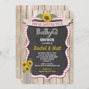 BBQ Baby Shower invitation girl pink yellow
