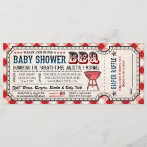 BBQ Baby Shower Ticket Diaper Raffle Invitations