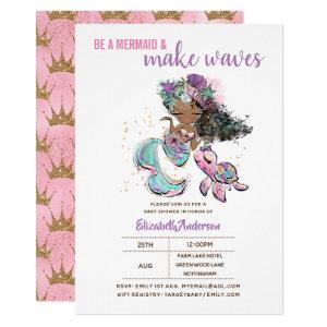 Be A Mermaid and Make Waves Girls Baby Shower Invitation