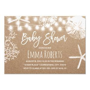 Beach Starfish Seashells Rustic Kraft Baby Shower Invitation