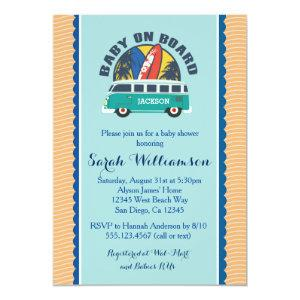 Beach Surf Surfboard Baby Boy Shower Invitation