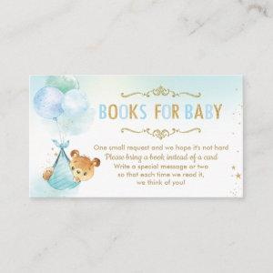 Bear Balloons Baby Shower Bring a Book Instead Enclosure Card