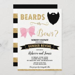 Beards or Bows Gender Reveal Baby Shower Gold Invitation