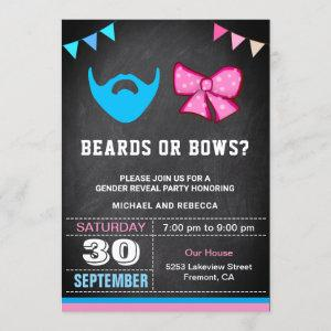 Beards or Bows Gender Reveal Party Invitation