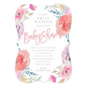 Beautiful Baby Shower Invitation Floral Watercolor