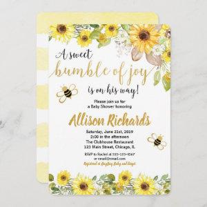 Bee baby shower invitation boy yellow bumblebee