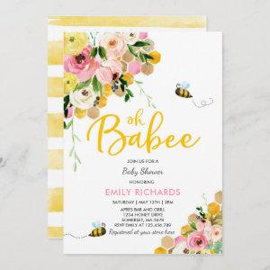 Bee Baby Shower Invitation Floral Babee Shower