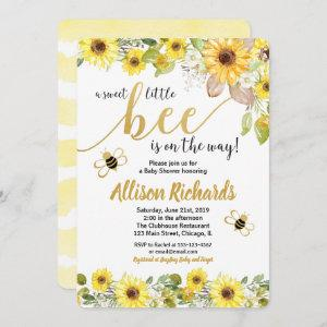 Bee baby shower invitation girl yellow bumblebee