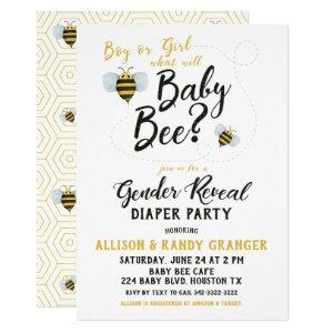Bee Gender Reveal Diaper Party Invitation