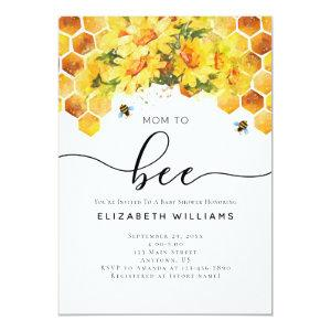 Bee Modern Watercolor Mom To Bee Baby Shower Invitation