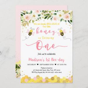 Bee Pink Gold Floral Girl First Birthday