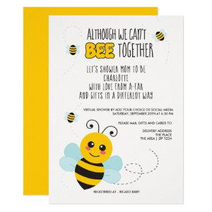 Bee Themed  Cant Be Together Baby Shower by Mail Invitation