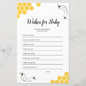 Bee Watercolor Wishes for Baby Game
