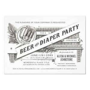 Beer & Diaper Party Baby Shower Invitations