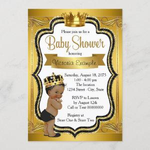Black and Gold African American Prince Baby Shower