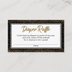 Black and Gold Confetti Diaper Raffle Ticket Cards