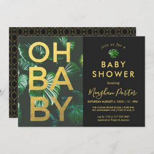 Black and Gold Tropical Baby Shower Invitation