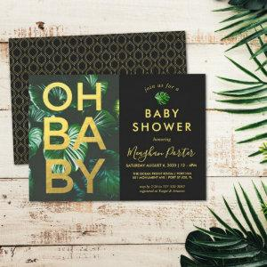 Black and Gold Tropical Baby Shower